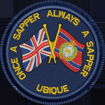 ONCE A SAPPER / RE / UNION JACK embroidered badge